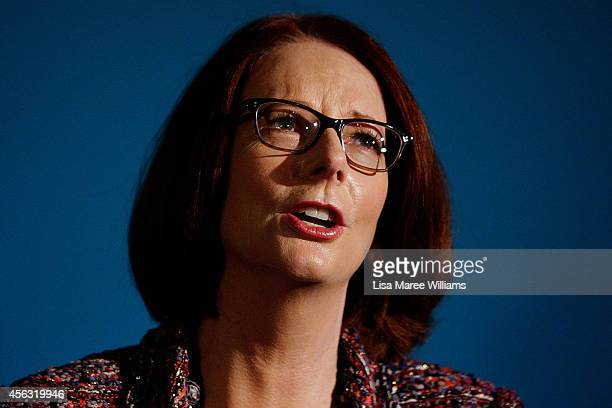 Former Australian Prime Minister Julia Gillard greets fans and signs her new book 'My Story' at the Seymour Centre on September 29 2014 in Sydney...