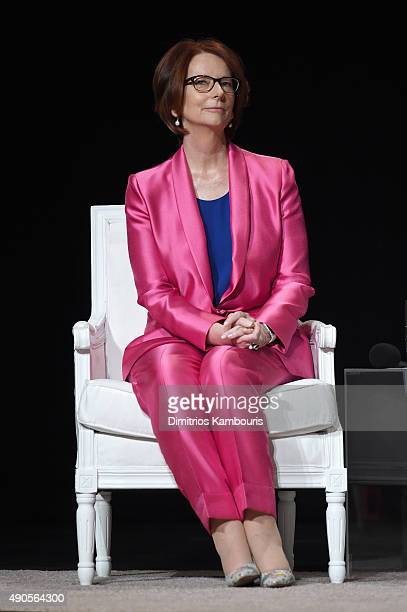 Former Australian Prime Minister Julia Gillard joins Glamour 'The Power Of An Educated Girl' panel at The Apollo Theater on September 29 2015 in New...