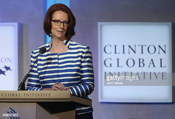 Former Australian Prime Minister Julia Gillard speaks during the Clinton Global Initiative on September 24 2014 in New York City The annual meeting...