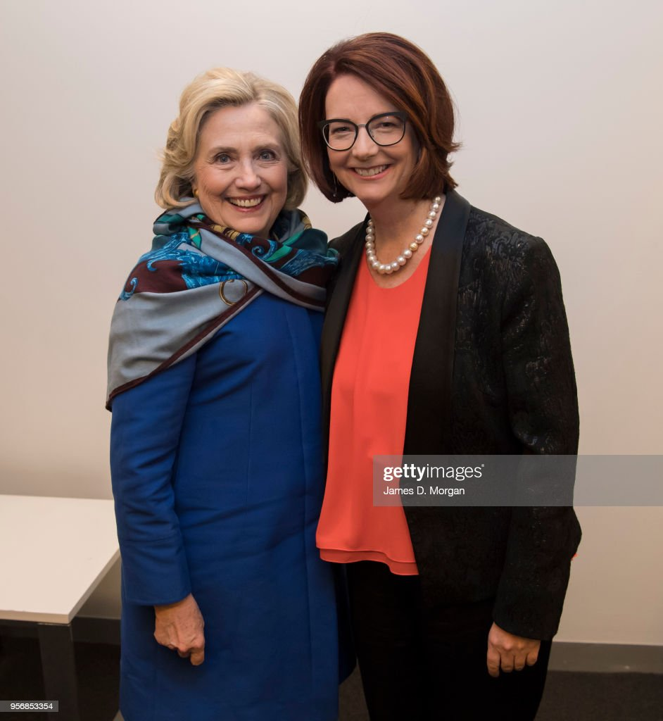 Former Australian Prime Minister Julia Gillard (right) with Hillary Clinton in their dressing room before An Evening With Hillary Rodham Clinton at The Melbourne Convention and Exhibition Centre on May 10, 2018 in Melbourne, Australia. The former US Secretary of State and Democratic presidential candidate, who lost the 2016 US election to Donald Trump, is touring Australia and New Zealand speaking about being a woman in politics.