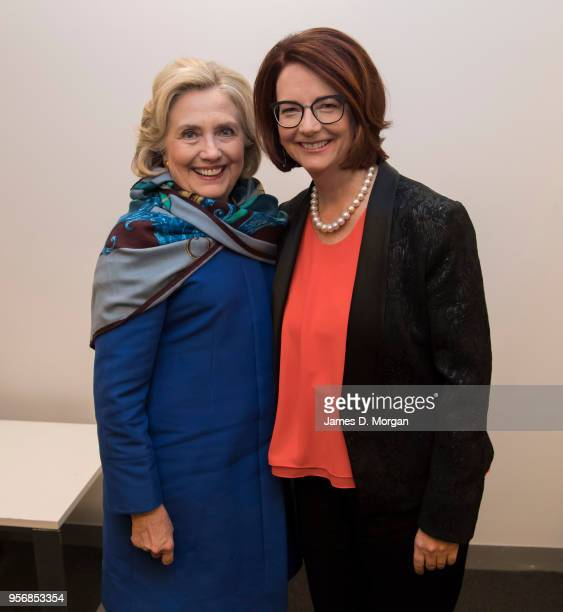 Former Australian Prime Minister Julia Gillard with Hillary Clinton in their dressing room before An Evening With Hillary Rodham Clinton at The...