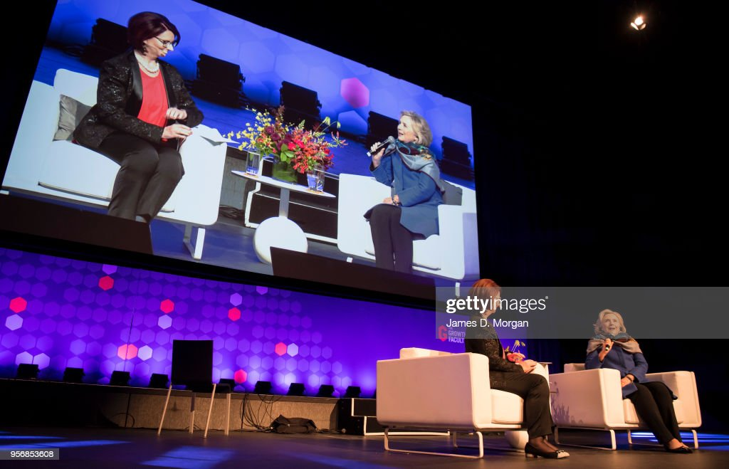 Former Australian Prime Minister Julia Gillard (left) with Hillary Clinton during An Evening With Hillary Rodham Clinton at The Melbourne Convention and Exhibition Centre on May 10, 2018 in Melbourne, Australia. The former US Secretary of State and Democratic presidential candidate, who lost the 2016 US election to Donald Trump, is touring Australia and New Zealand speaking about being a woman in politics.