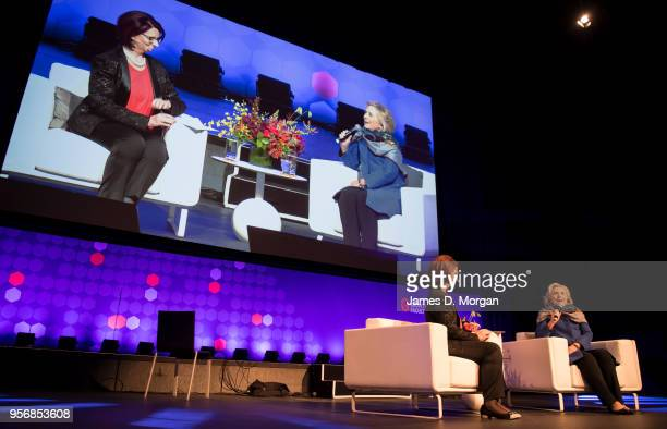 Former Australian Prime Minister Julia Gillard with Hillary Clinton during An Evening With Hillary Rodham Clinton at The Melbourne Convention and...