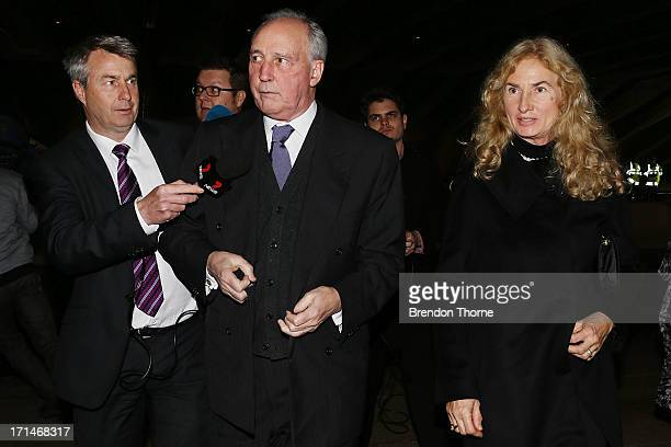 Former Australian Prime Minister Paul Keating and Annita van Iersel attend a state memorial service for the late Hazel Hawke at the Sydney Opera...