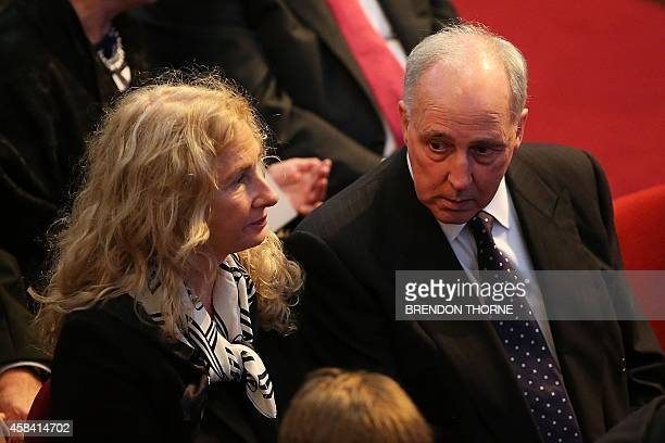 Former Australian prime minister Paul Keating and former wife Annita attend a state memorial service for former Australian prime minister Gough...