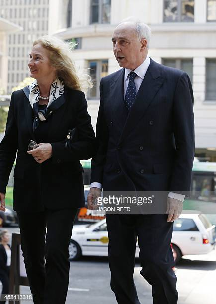 Former Australian prime minister Paul Keating and his former wife Annita arrive to attend a state memorial service for former Australian prime...