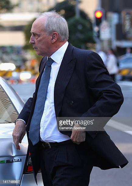 Former Australian Prime Minister Paul Keating arrives at the memorial service for Margaret Whitlam at St James Anglican Church on March 23 2012 in...