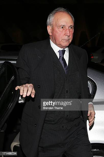 Former Australian Prime Minister Paul Keating attends a state memorial service for the late Hazel Hawke at the Sydney Opera House on June 25 2013 in...