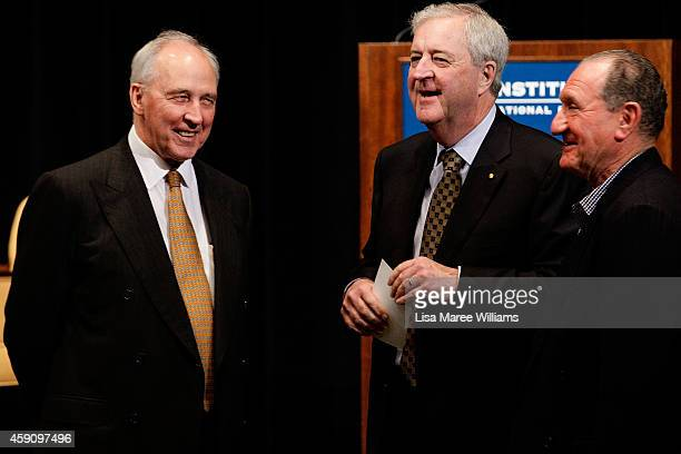 Former Australian Prime Minister Paul Keating speaks with former Governor of the Reserve Bank of Australia Ian Macfarlane prior to German Chancellor...