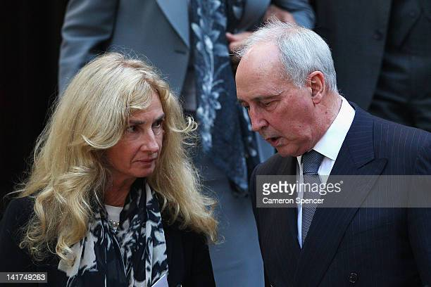 Former Australian Prime Minister Paul Keating talks to his exwife Annita Keating van Iersel the memorial service for Margaret Whitlam at St James...