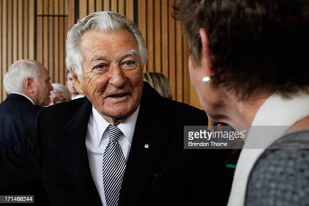 Former Australian Prime Ministers Bob Hawke speaks with guests following a state memorial service for the late Hazel Hawke at the Sydney Opera House...