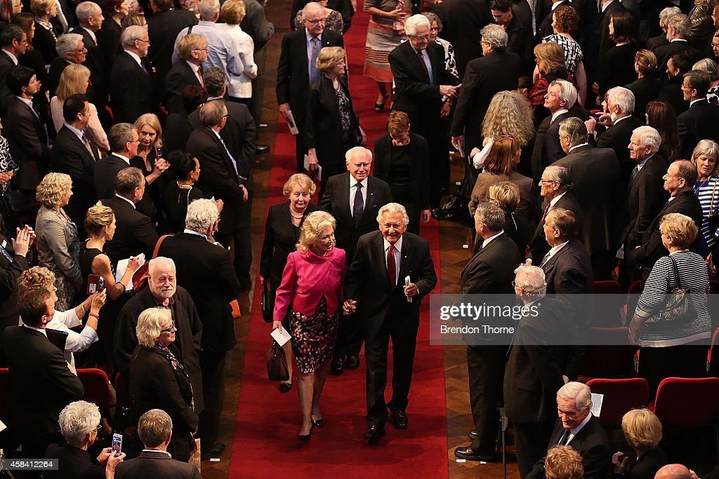 Former Australian Prime Ministers, John Howard and Bob Hawke leave the state memorial service for former Australian Prime Minister Gough Whitlam at Sydney Town Hall on November 5, 2014 in Sydney, Australia. Gough Whitlam was the 21st Prime Minister of Australia. He died on October 21, aged 98.