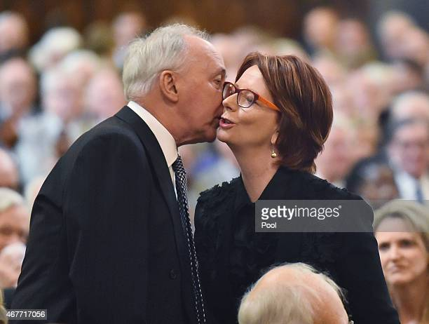 Former Australian Prime Minister's Paul Keating and Julia Gillard attend the funeral of former Australian Prime Minister Malcolm Fraser on March 27...