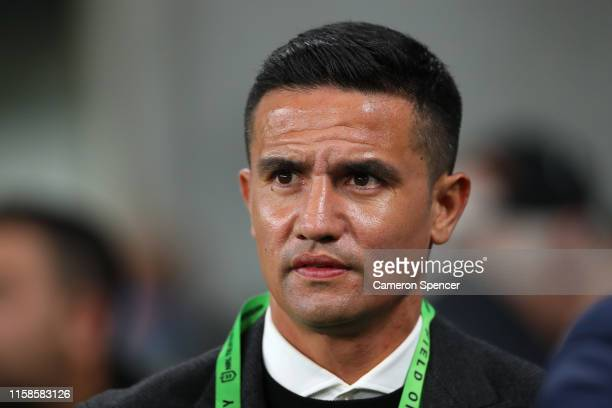 Former Australian soccer player Tim Cahill is seen before the round 15 NRL match between the Wests Tigers and the South Sydney Rabbitohs at Bankwest...