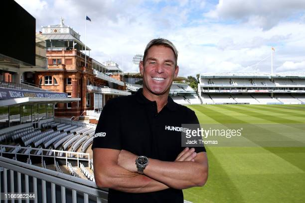Former Australian spin bowler, Shane Warne is named as head coach of Lord's The Hundred team at Lord's Cricket Ground on August 07, 2019 in London,...