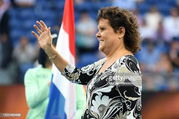 Former Australian tennis player Evonne Goolagong waves during a Tennis Hall of Fame ceremony on day nine of the 2020 Australian Open at Melbourne...