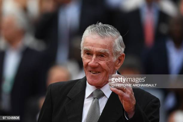 Former Australian tennis player Ken Rosewall arrives for the awards ceremony after the victory of Spain's Rafael Nadal over Austria's Dominic Thiem...