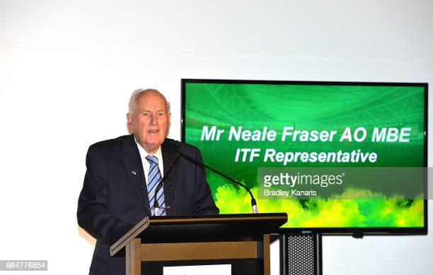 Former Australian Tennis player Mr Neale Fraser speaks at the official dinner at GOMA ahead of the Davis Cup World Group Quarterfinal match between...