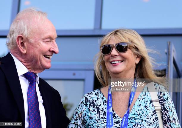 YORK Former Australian tennis player Rod Laver laughs with Susan Johnson while walking around the US Open grounds during Arthur Ashe Kids' Day at...