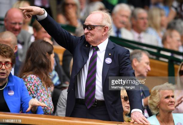 Former Australian tennis player Rod Laver looks on from The Royal Box on centre court during Day six of The Championships Wimbledon 2019 at All...