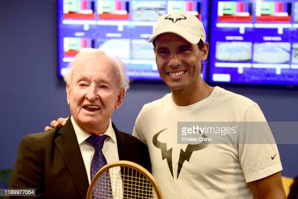 YORK Former Australian tennis player Rod Laver poses for a portrait with Rafael Nadal of Spain during Arthur Ashe Kids' Day at USTA Billie Jean King...