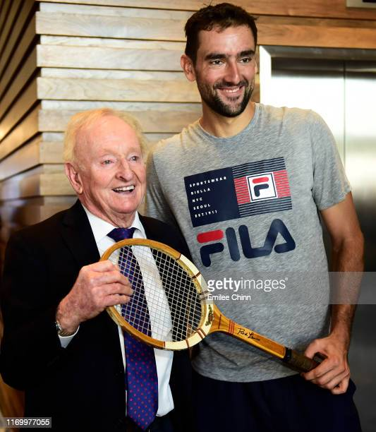 YORK Former Australian tennis player Rod Laver poses for a portrait with Marin Cilic of Croatia during Arthur Ashe Kids' Day at USTA Billie Jean King...
