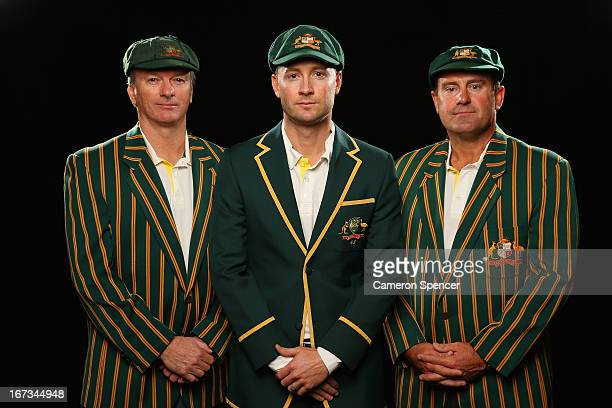 Former Australian Test captain Steve Waugh, current Australian Test captain Michael Clarke, and former Australian Test captain Mark Taylor pose...