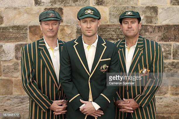 Former Australian Test captain Steve Waugh current Australian Test captain Michael Clarke and former Australian Test captain Mark Taylor pose during...