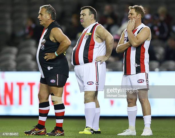 Former Australian Test cricketer and Saints fan Shane Warne looks upfield when playing a Saints corporate game before the round 10 AFL match between...