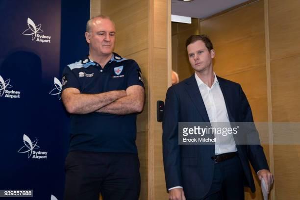 Former Australian Test cricketer Steve Smith arrives to confront the media at Sydney International Airport on March 29 2018 in Sydney Australia Steve...