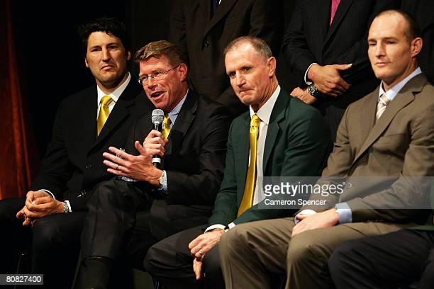 Former Australian Wallabies captain Nick FarrJones talks on stage with former Wallaby captains introduced as Australian Rugby Statesmen during the...