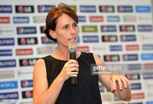 Former Australian Womens Cricket player and ICC Hall of Famer Belinda Clarke speaks during the media opportunity as the one year to go countdown...