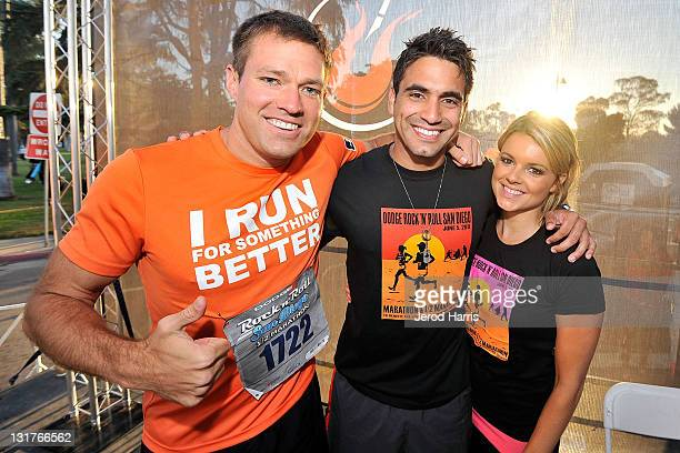 Former Bachelor Andy Baldwin poses with Roberto Martinez and Ali Fedotowsky at the Dodge Rock 'n' Roll San Diego Marathon To Benefit The Leukemia and...