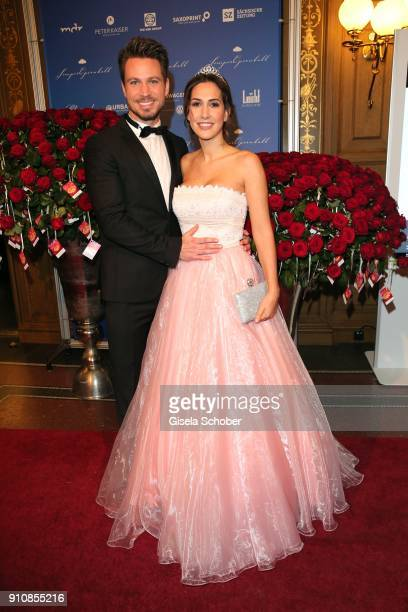 Former Bachelor Sebastian Pannek and his girlfriend CleaLacy Juhn during the Semper Opera Ball 2018 at Semperoper on January 26 2018 in Dresden...
