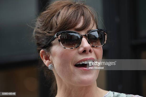 Former ballerina and judge on the BBC's reality show 'Strictly Come Dancing' Darcey Bussell unveils an English Heritage 'Blue Plaque' on June 7 2016...