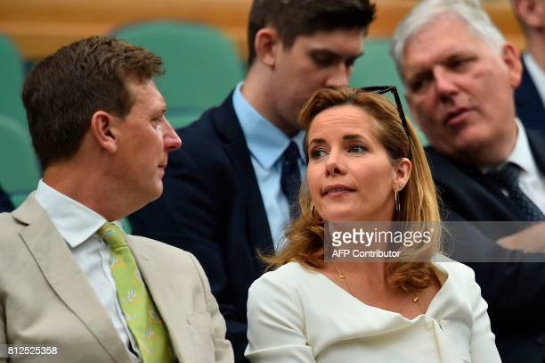 Former ballet dancer and television star Darcey Bussell 2 and Angus Forbes watch as France's Adrian Mannarino play against Serbia's Novak Djokovic...