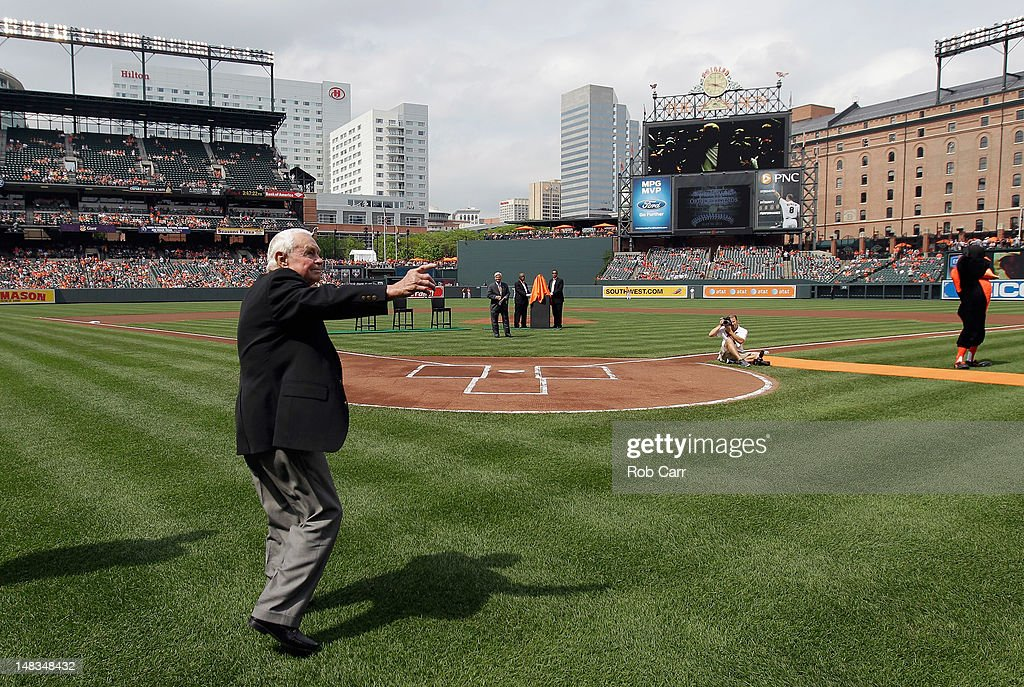 Former Baltimore Orioles manager Earl Weaver waves to the crowd during pre game ceremonies before the start of the Orioles and Detroit Tigers game at Oriole Park at Camden Yards on July 14, 2012 in Baltimore, Maryland.