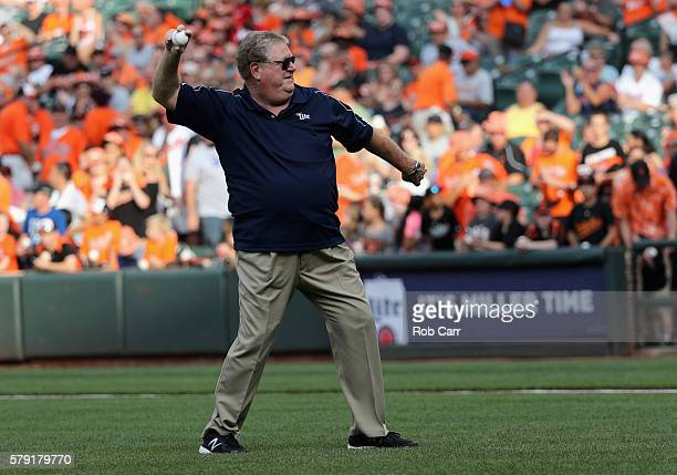 Former Baltimore Orioles player Boog Powell throws out the ceremonial first pitch before the Oriole and Cleveland Indians game at Oriole Park at...