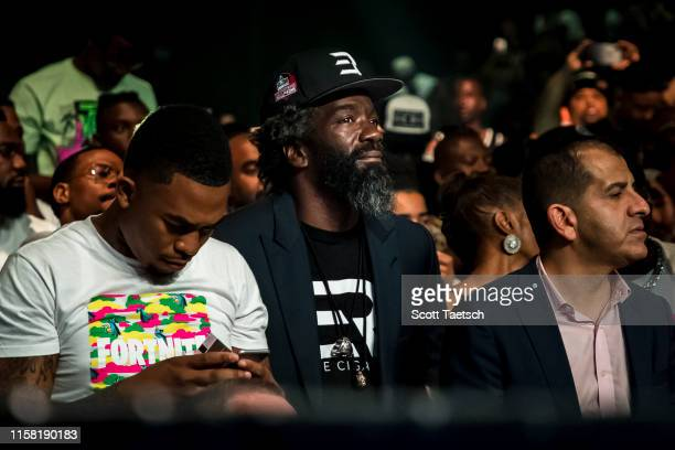 Former Baltimore Ravens safety Ed Reed looks on before the WBA super featherweight championship fight between Gervonta Davis and Ricardo Nunez at...