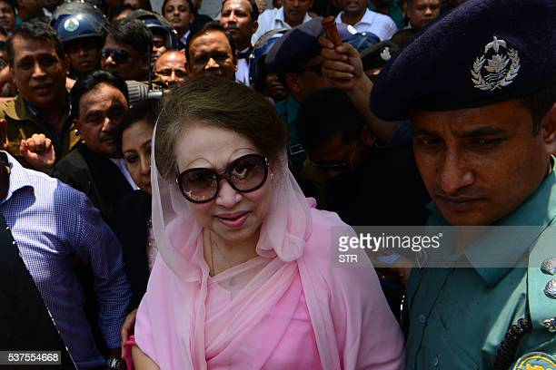 Former Bangladeshi prime minister and Bangladesh Nationalist Party leader Khaleda Zia leaves after a court appearance in Dhaka on June 2 2016 The...