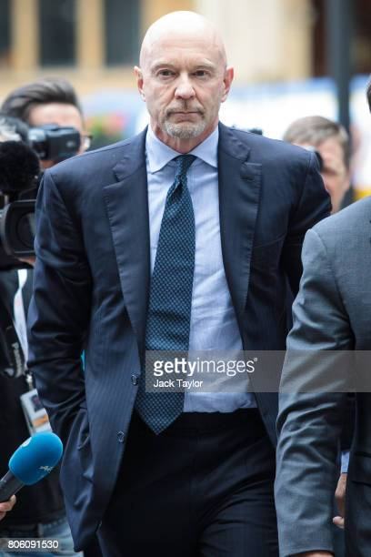 Former Barclays banker Roger Jenkins arrives at Westminster Magistrates Court on July 3 2017 in London England Mr Jenkins today appears with three...
