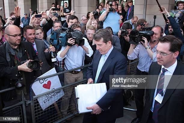 Former Barclays Chief Executive Bob Diamond leaves Portcullis House after appearing before the Treasury Select Committee on July 4 2012 in London...