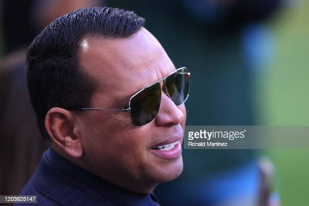Former baseball player Alex Rodriguez looks on before Super Bowl LIV at Hard Rock Stadium on February 02, 2020 in Miami, Florida.