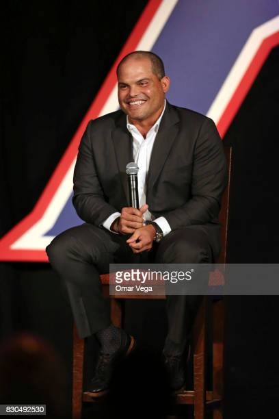 Former baseball player Ivan 'Pudge' Rodriguez speaks during The Dr Pepper Hall of Fame Luncheon 2017 at Omni Hotel on August 11 2017 in Fort Worth...
