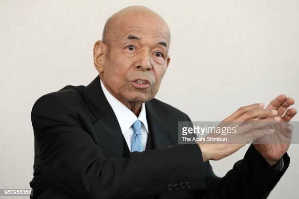 Former baseball player Sachio Kinugasa speaks during the Asahi Shimbun interview on Ferbruary 28 2018 in Tokyo Japan