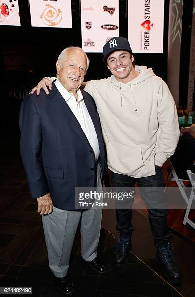 Former baseball player Tommy Lasorda and actor Beau Casper Smart attend the Los Angeles Police Memorial Foundation Celebrity Poker Tournament and...