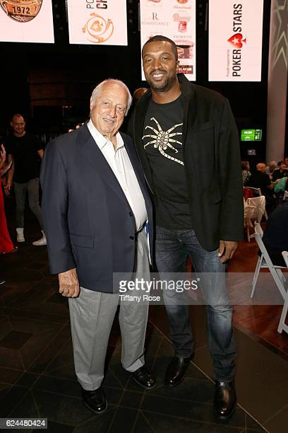 Former baseball player Tommy Lasorda and actor Roger Cross attend the Los Angeles Police Memorial Foundation Celebrity Poker Tournament and Party...