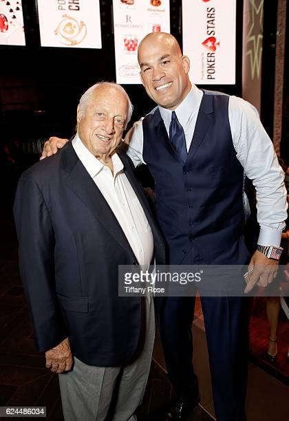 Former baseball player Tommy Lasorda and Mixed martial artist Tito Ortiz attend the Los Angeles Police Memorial Foundation Celebrity Poker Tournament...