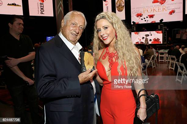 Former baseball player Tommy Lasorda and Traci Szymanski attend the Los Angeles Police Memorial Foundation Celebrity Poker Tournament and Party held...