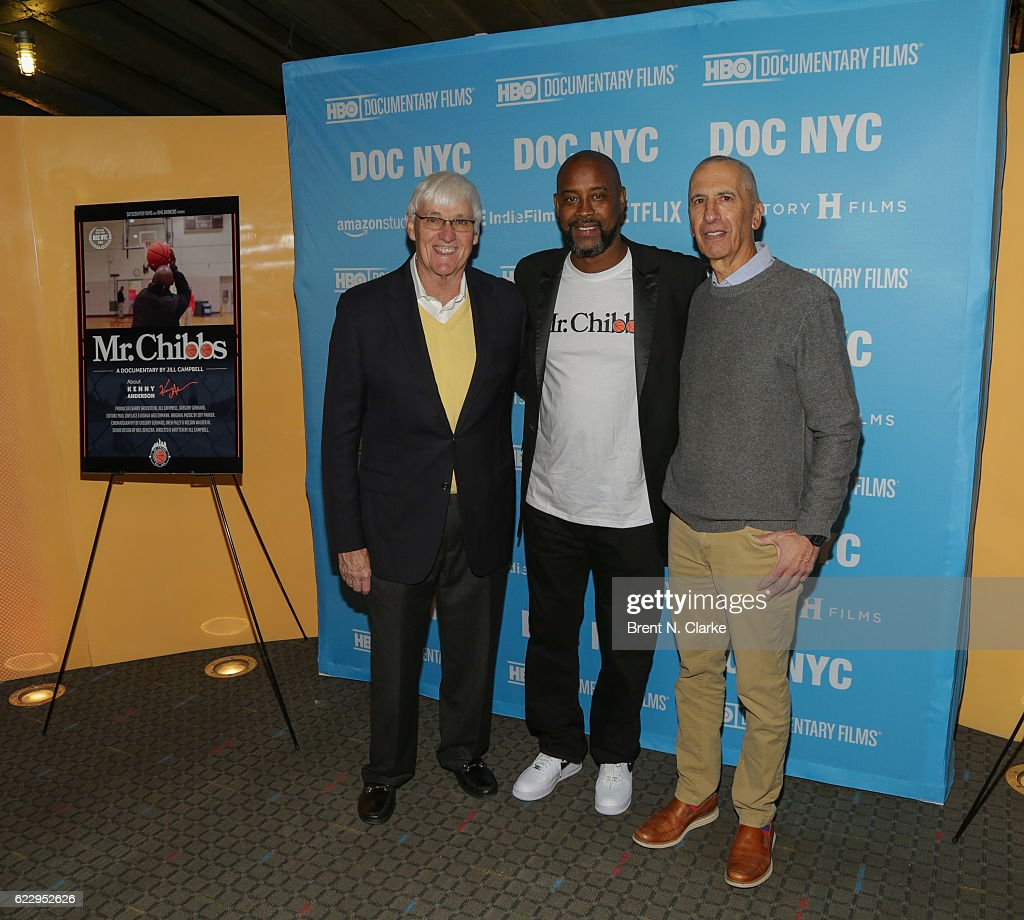 Former basketball coach Bobby Cremins, retired basketball player Kenny Anderson and guest attend the screening of 'Mr. Chibbs' during DOC NYC held at the SVA Theater on November 12, 2016 in New York City.